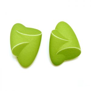 Birgit Laken, green Hug earrings, polyamide, 3D-printed, hand-finished