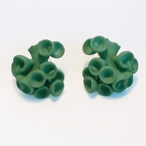 Bud Earrings by Ann Marie Shillito, 3D printed in polyamide and dyed in green