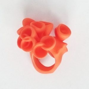 Bud ring by Ann Marie Shillito, 3D printed, dyed yummy orange.