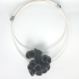 Bud neckpiece in sophisticated black, by Ann Marie Shillito. 3D printed in polyamide, light to wear and definitely a piece of confidence building statement jewellery.