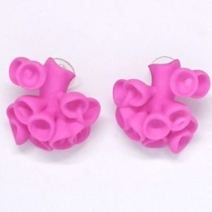 Bud Earrings by Ann Marie Shillito, 3D printed in polyamide and dyed funky pink.