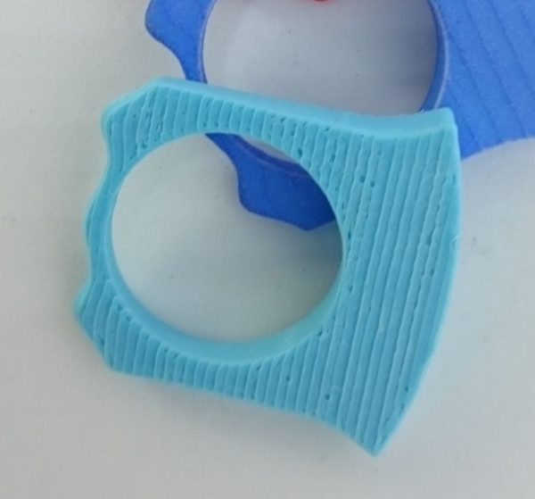 Variations Ring Shank in light blue dyed polyamide, 3D printed, to mix and match with different ring tops in this collection