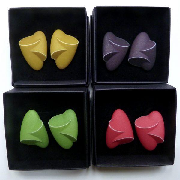 Birgit Laken, green Hug earrings,green, mustard, black, red, polyamide, 3D-printed, hand-finished