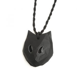 Big Cat pendant with white circled eyes and black adjustable cord, designed by Birgit Laken, 3D printed in polyamide, dyed black and with acrylic paint. Hand finished.