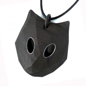 Cat pendant with white circled eyes and black adjustable cord, designed by Birgit Laken, 3D printed in polyamide, dyed black and with acrylic paint. Hand finished.