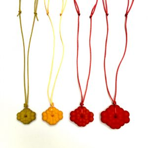4 Pendants, different size and colours, by Birgit Laken, 3D printed, hand finished and dyed.
