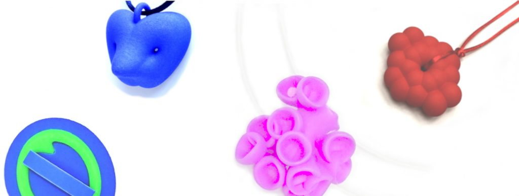 Banner showing 4 pieces of contemporary 3D printed jewellery by Birgit Laken and Ann Marie Shillito